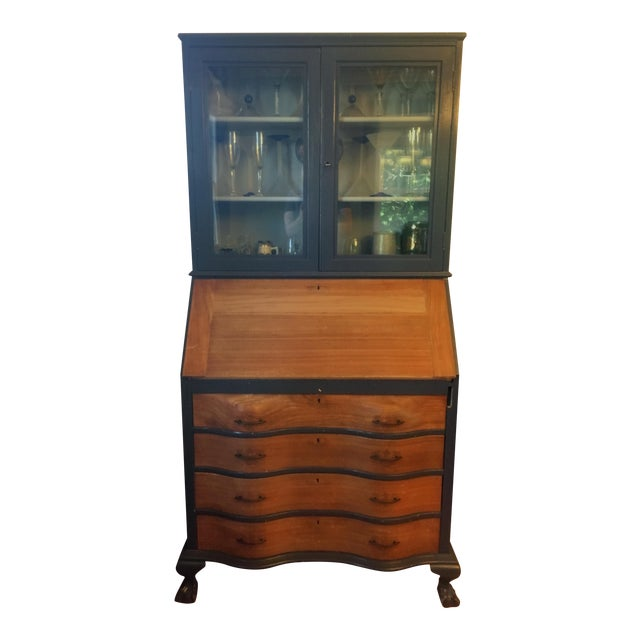 19th Century Chippendale Slant Front Mahogany Maddox Secretary Desk For Sale