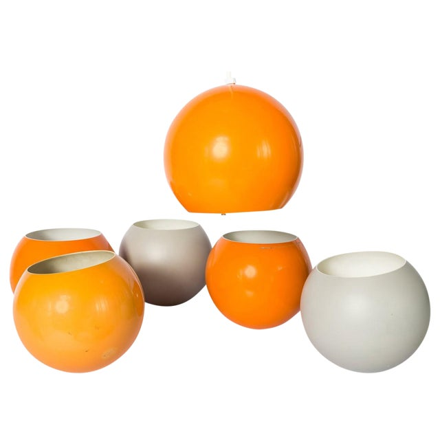 Verner Panton Orange & White Pendant Shades - Set of 6 For Sale