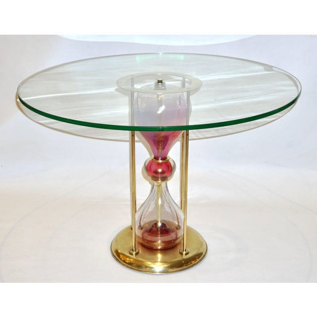 Seguso Vetri d'Arte Seguso Vetri d'Arte 1960s Italian Brass and Pink Glass Round Side / End Table For Sale - Image 4 of 11
