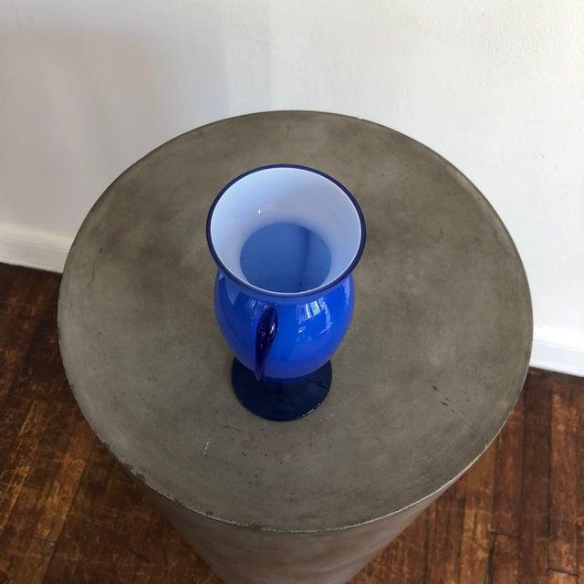 1970s Vintage Blue Glass Winged Vase For Sale - Image 5 of 7
