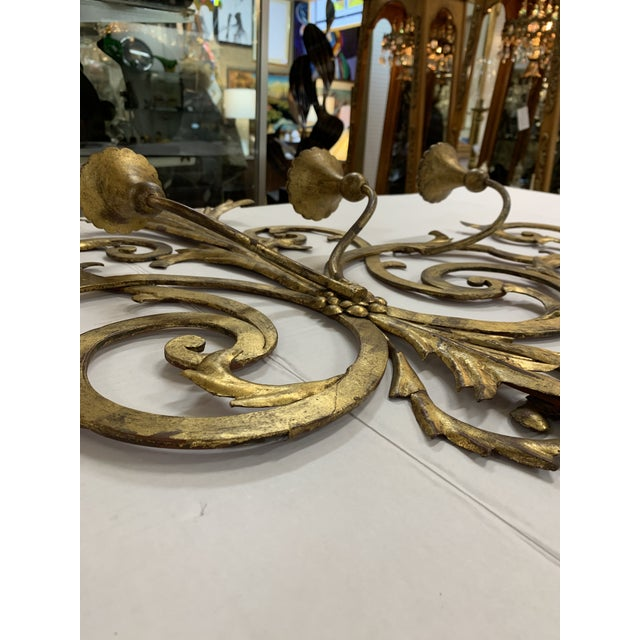 1960s Large Gilt Metal Italian 4 Arm Candle Wall Sconce For Sale - Image 4 of 8