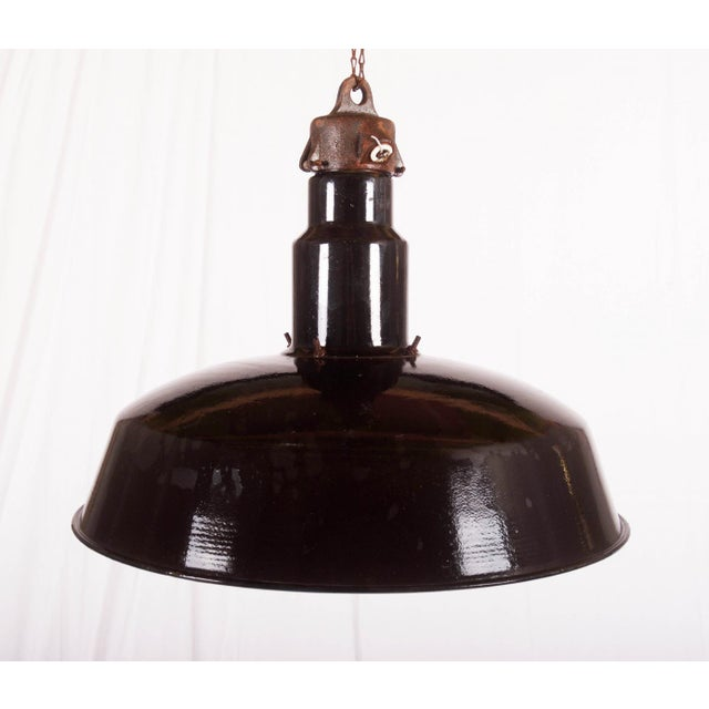 1960s Large Enameled Czech Industrial Ceiling Lamp, 1960s For Sale - Image 5 of 5