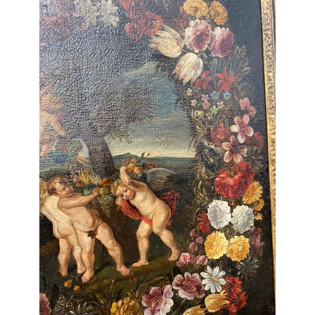 17th C. Italian Flemish Cherub Painting With Floral Wreath Motif For Sale In Los Angeles - Image 6 of 9