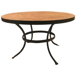 Arts and Crafts Iron and Stone Coffee Cocktail Table For Sale