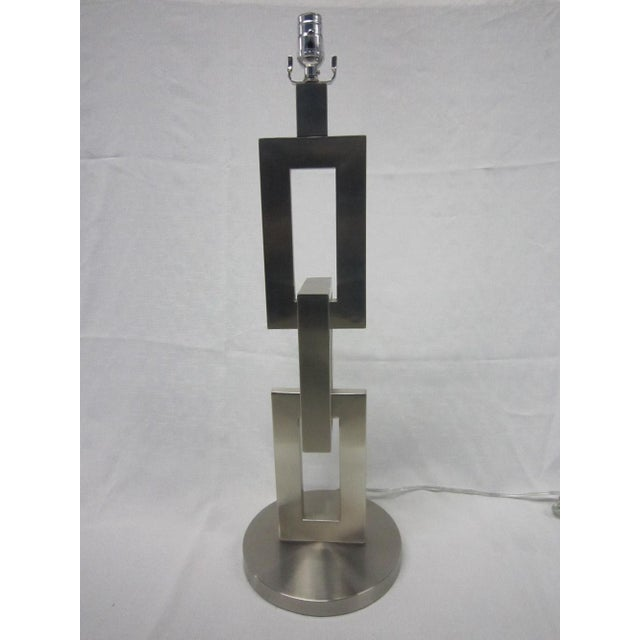 Modern Brushed Chrome Link Table Lamp - Image 3 of 5
