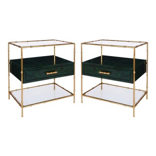 Worlds Away Jensen Gold Leaf Bamboo Frame Side Tables With Malachite Drawer & Glass Shelves – A Pair