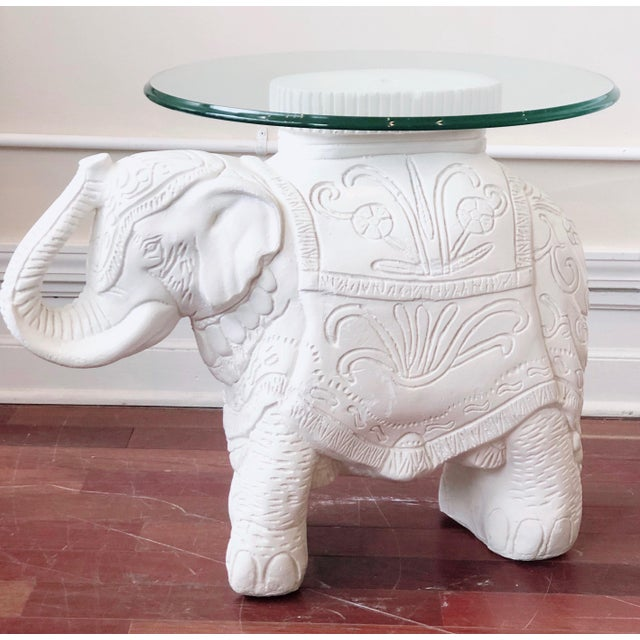 1990s Glass Top Elephant Figure Side Table For Sale - Image 5 of 8