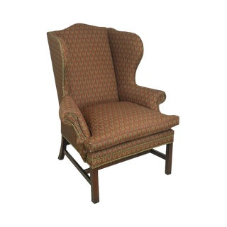 Ralph Lauren Chippendale Style Mahogany Wing Chair For Sale