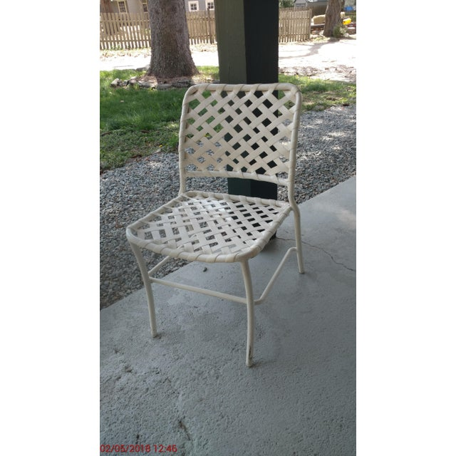 Tropitone 70s Style of Brown and Jordan Cross Strap Patio Chairs - Set of 6 For Sale - Image 4 of 6