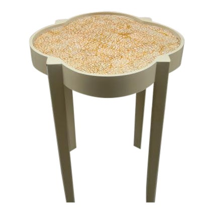 Moroccan Silhouette Painted Mosaic Top Side Table For Sale