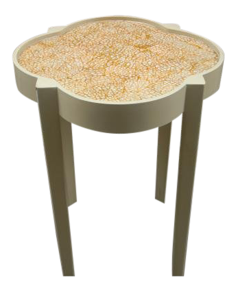 Elegant Moroccan Silhouette Painted Mosaic Top Side Table