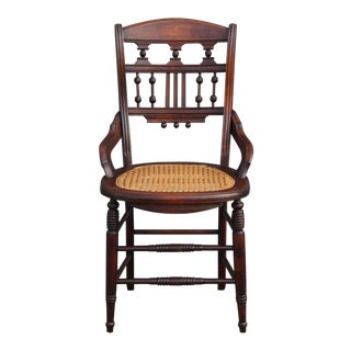 1910 Antique Carved Detailed Mahogany Armchair