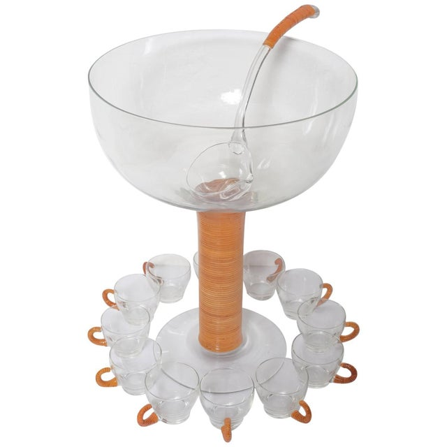 1950s Wicker Wrapped Glass Punch and Cups Bowl Set - 15 Pc. Set For Sale - Image 9 of 9
