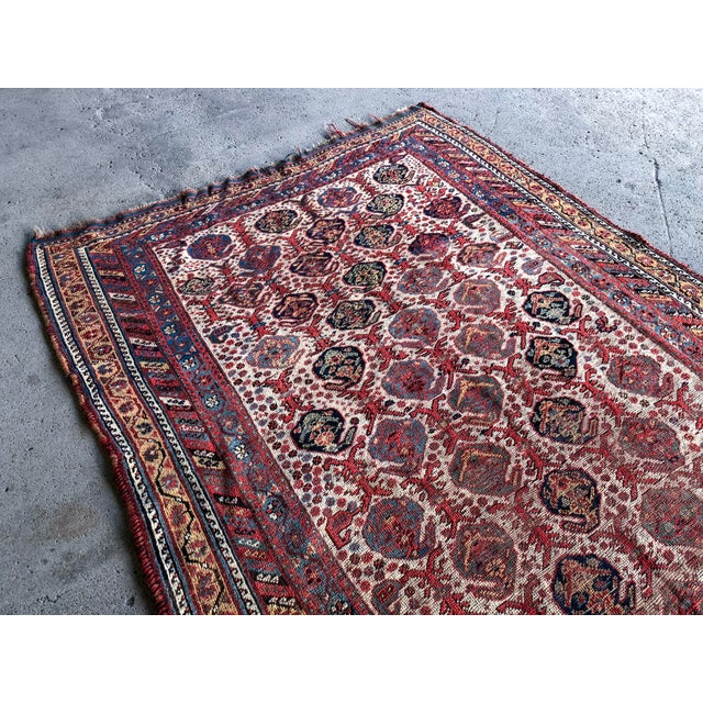 Tribal Antique Distressed Persian Khamseh Boho Tribal Rug - 5x9 Wide Runner For Sale - Image 3 of 7
