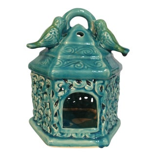 Ceramic Bird House Candle Holder For Sale
