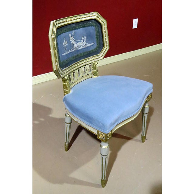 Antique Louis XV Style Distressed Painted Side Chair For Sale - Image 4 of 8