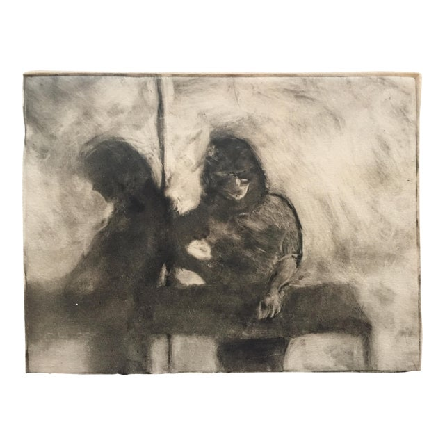 1980s Vintage Two Figures Lithograph by Lisa Winick - Image 1 of 5