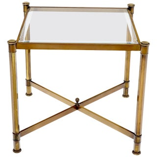Brass Profile Base Glass Top Square Side End Occasional Table Mid-Century Modern For Sale