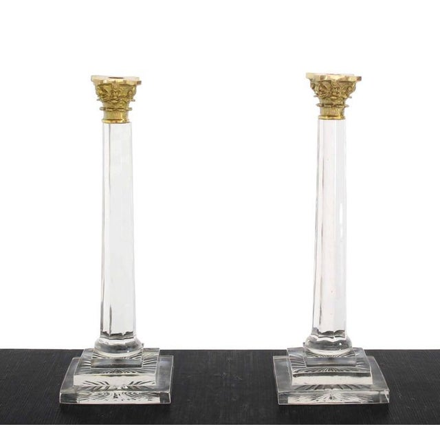 "Pair of 20"" very nice tall ""crystal"" and brass candle sticks."