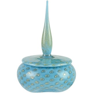 Alfredo Barbini Murano Blue Gold Spike Top Italian Art Glass Vanity Powder Box For Sale