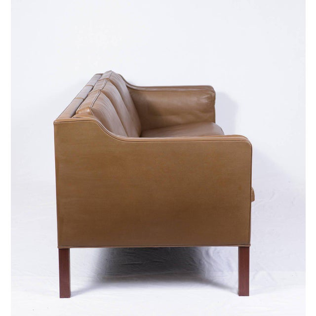 Modern Borge Mogensen Model #2213 Three-Seat Leather Sofa For Sale - Image 3 of 10