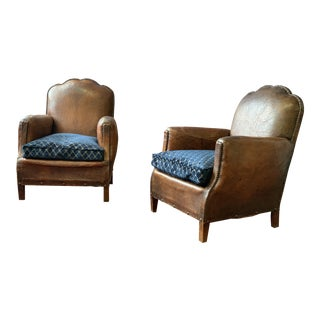 1930's Art Deco Leather Club Chairs - Christian Lacroix Fabric Cushions For Sale