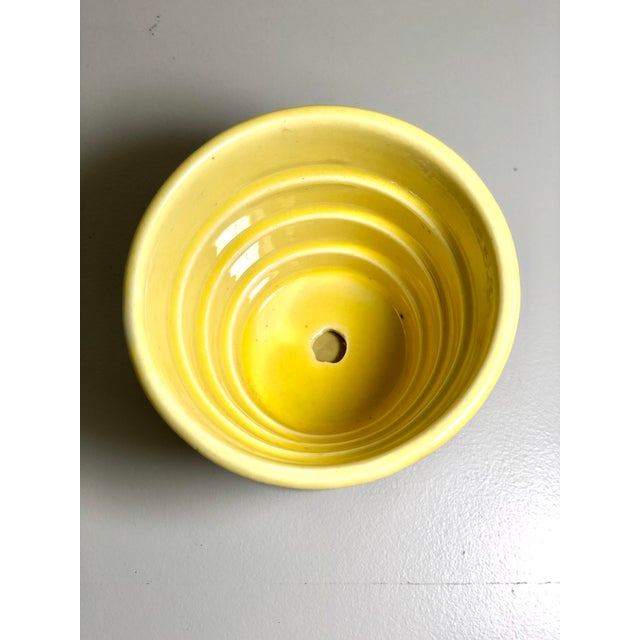 "McCoy Pottery Small ""Yellow"" Mid-Century Flowerpot and Saucer For Sale - Image 4 of 6"