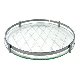 Fontana Arte Style Chrome & Wheel Cut Glass Tray For Sale