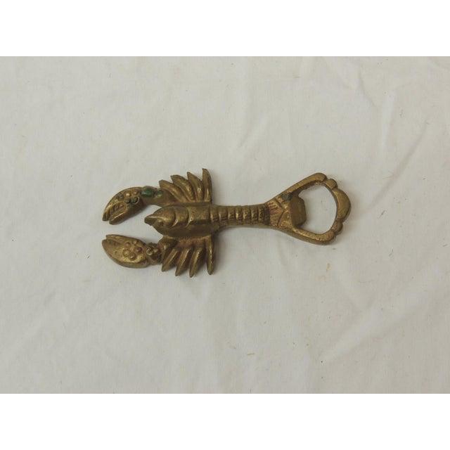 1980s Vintage Brass Bottle Opener in Shape of a Lobster For Sale - Image 5 of 5