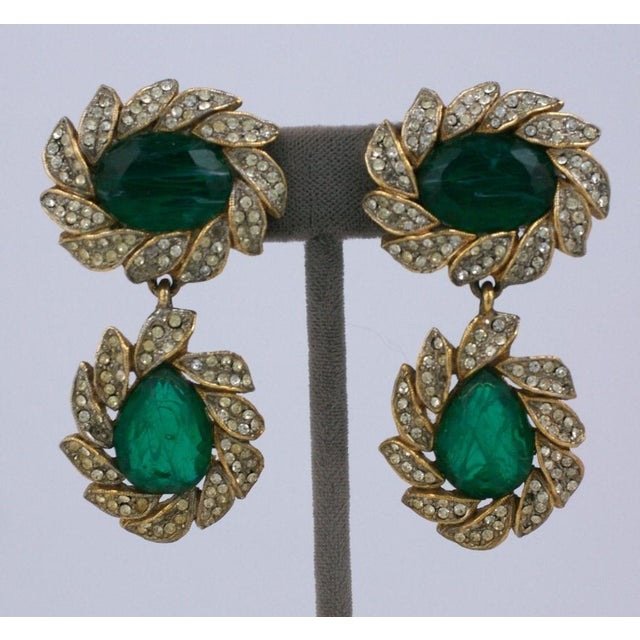 Mid-Century Modern Kjl Earring of Emeralds and Pastes For Sale - Image 3 of 4