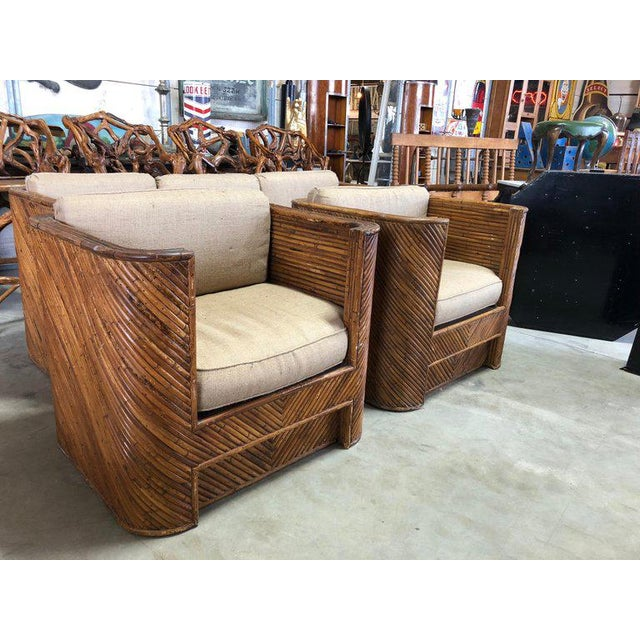 Boho Chic Mid-Century Italian Bamboo Club Chairs - a Pair For Sale - Image 3 of 5