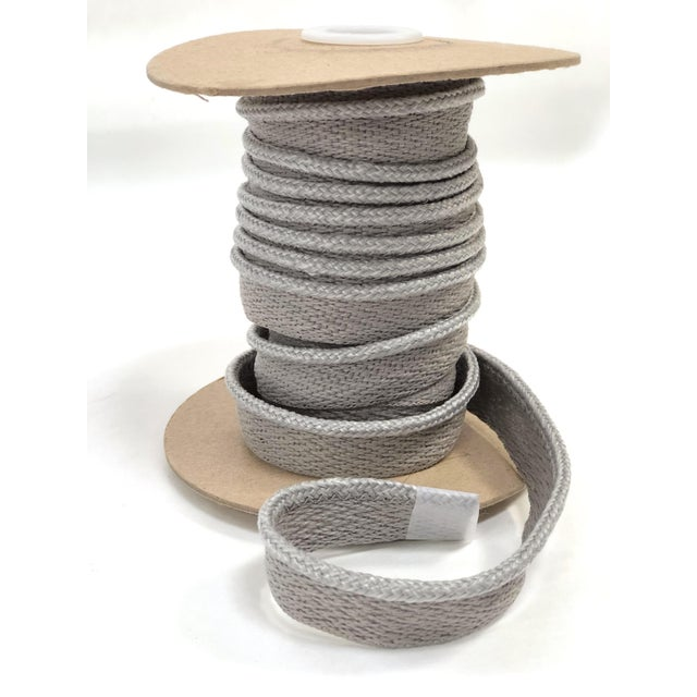 "Braided 1/8"" Indoor-Outdoor Gray Cord Trim For Sale - Image 9 of 9"