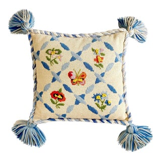 Vintage Ca 1960s Butterfly Needlepoint Pillow Pom Pom Tassels For Sale