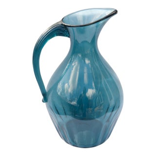 Antique Large Hand-Blown Blue Tone Glass Pitcher For Sale