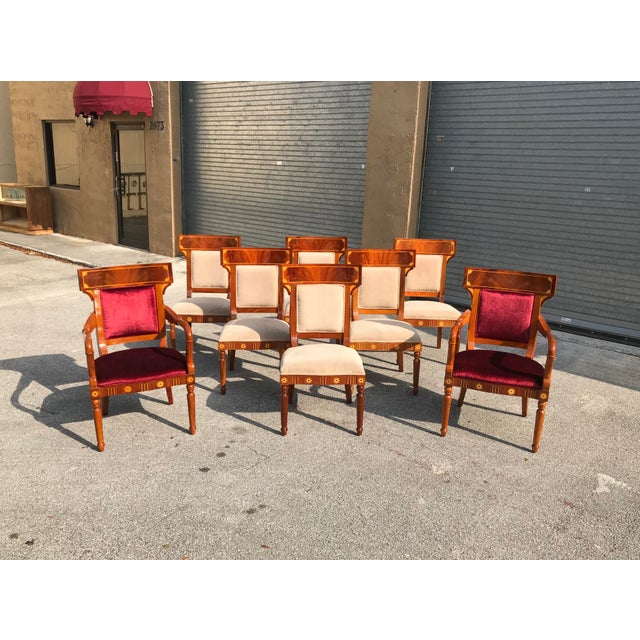"""Beautiful Set of 8 Biedermeier style flame mahogany dining chairs with sycamore inlaid 1910s , 2 armchairs measure 38.75""""..."""