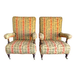 Vintage Mid Century Edwardian Upholstered Chairs - a Pair For Sale