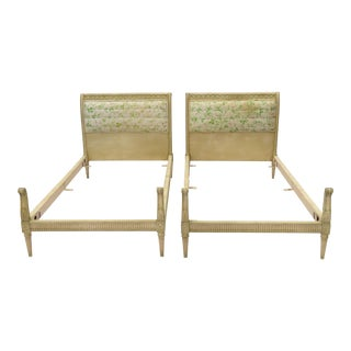 Pair Louis XVI Style Twin Beds Upholstered Headboard Antique Painted Solid Wood For Sale