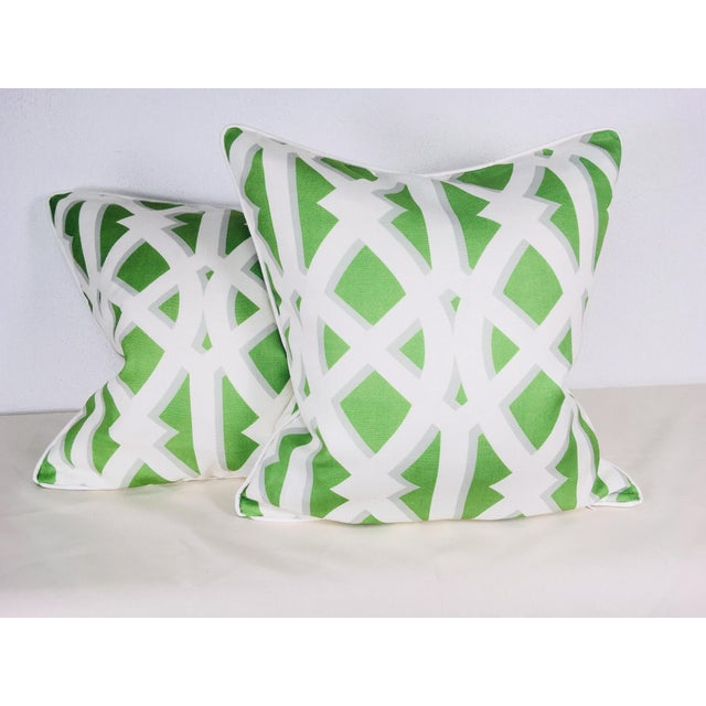 Modern Cotton Geometric Pillows – a Pair For Sale - Image 9 of 10