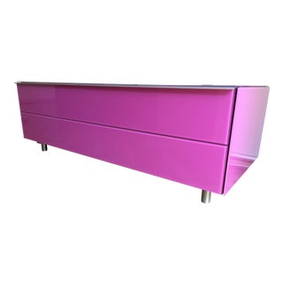 Modern Pink Glass Console / Tv Stand For Sale