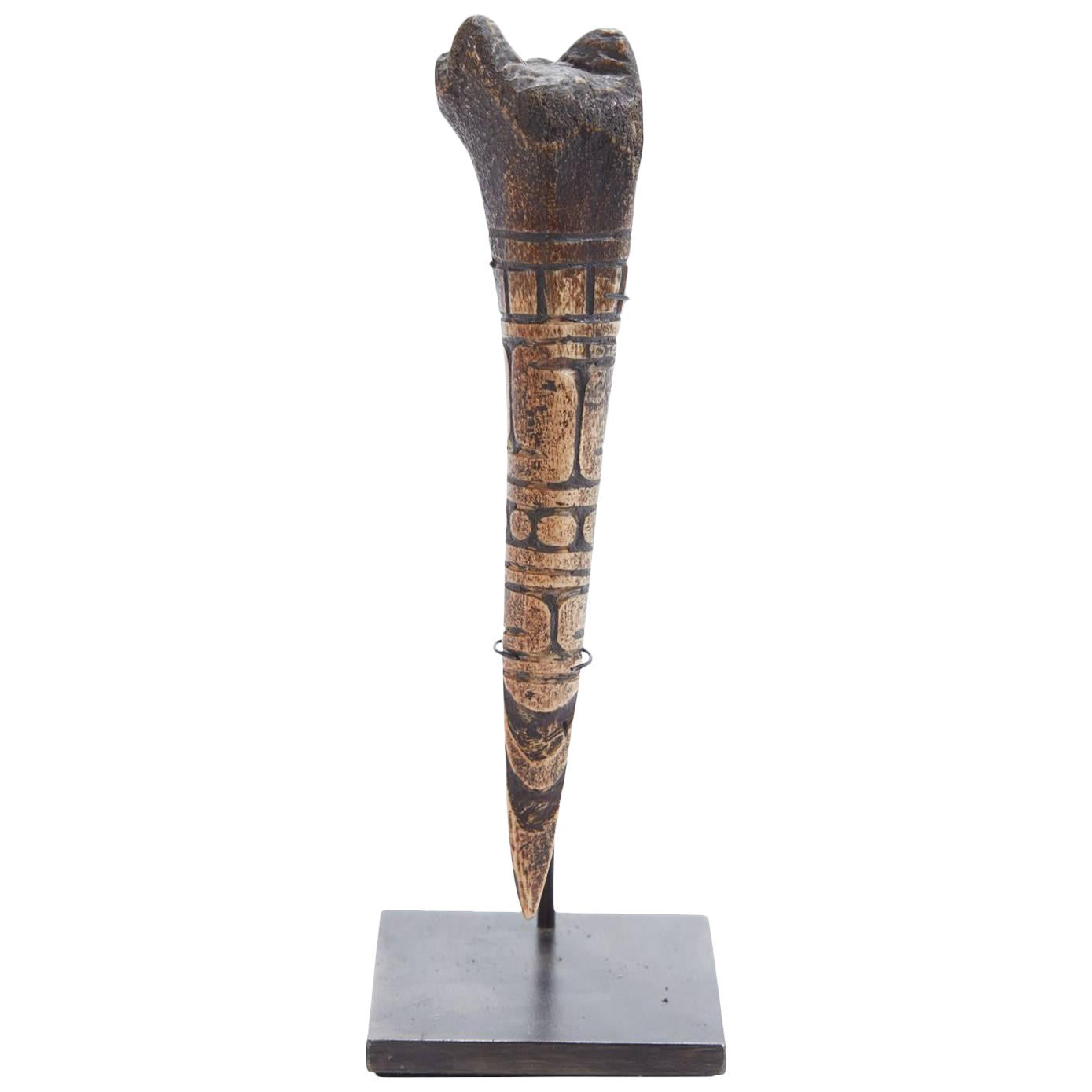 19th Century Carved African Bone Tool From Cameroon Chairish