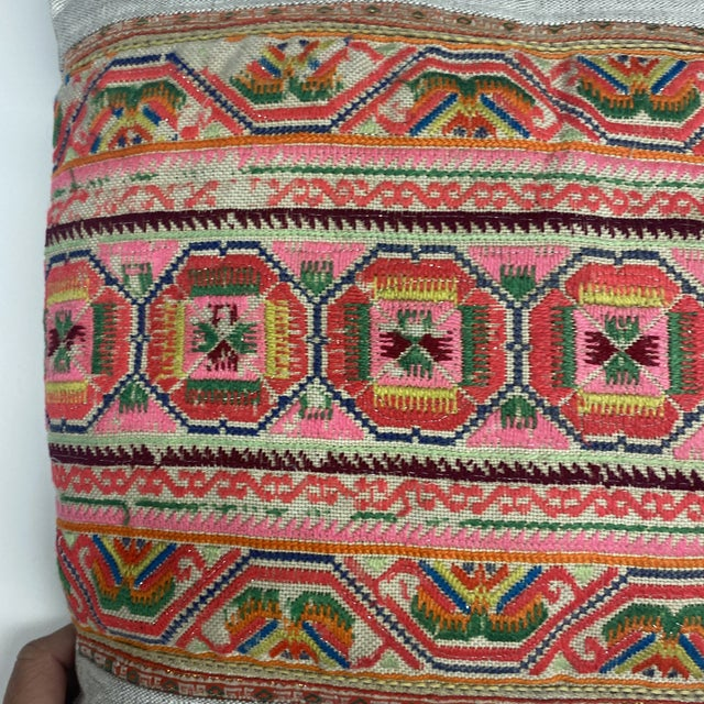 Chu Hmong Embroidered Pillow For Sale - Image 4 of 7