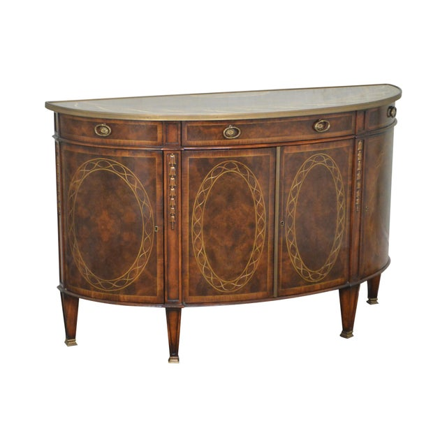 Theodore Alexander Inlaid Burl Wood Demilune Bow Front Side Cabinet Console For Sale - Image 13 of 13