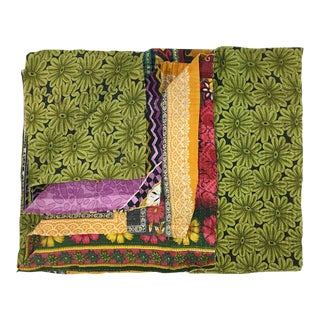 Chartreuse Daisy Rug & Relic Kantha Quilt For Sale