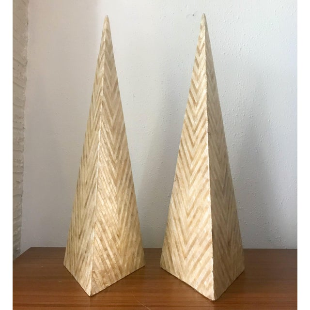 Shell Tessellated Capiz Shell Pyramid Obelisks - A Pair For Sale - Image 7 of 7