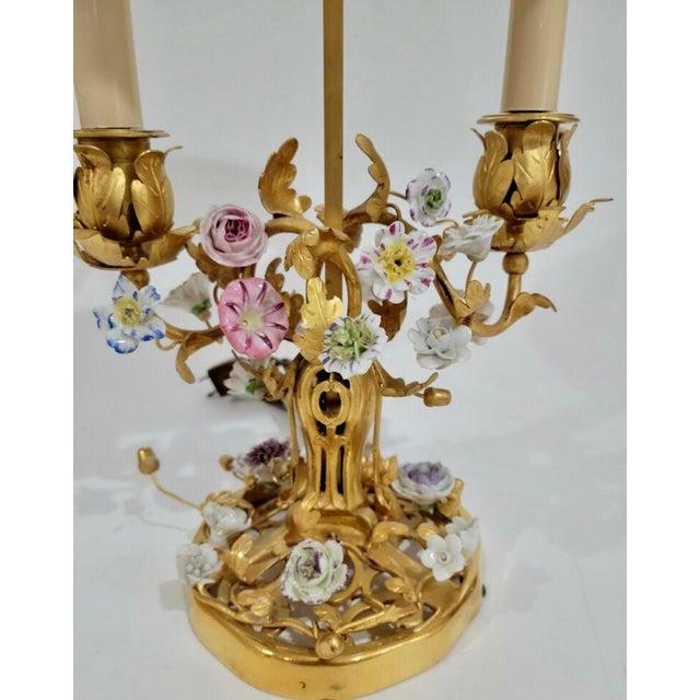 Antique 19th C Louis XV Gilt Bronze & Enamel Bouillotte Lamp
