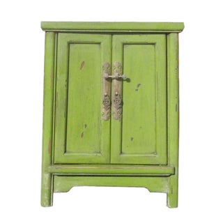 Grass Green Oriental End Table Nightstand