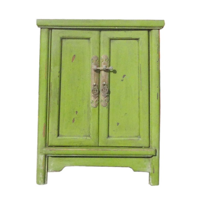 Grass Green Oriental End Table Nightstand For Sale