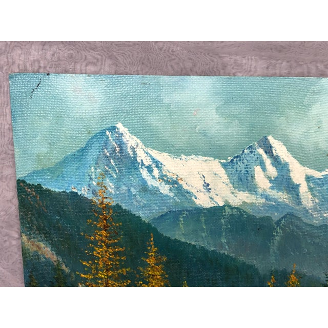 Cabin Mid 20th Century Mountain Landscape Oil Painting For Sale - Image 3 of 13