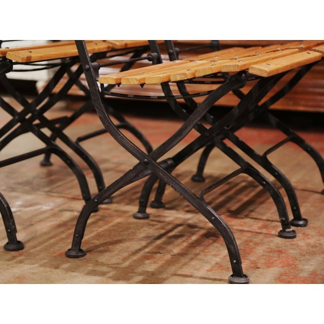 Painted Wrought Iron and Teak Wood Folding Garden Chairs, Set of Four For Sale - Image 10 of 13