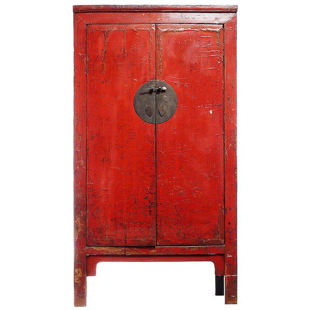 Wood 19th Century Chinese Large Red Lacquered Armoire with Iron Hardware For Sale - Image 7 of 7